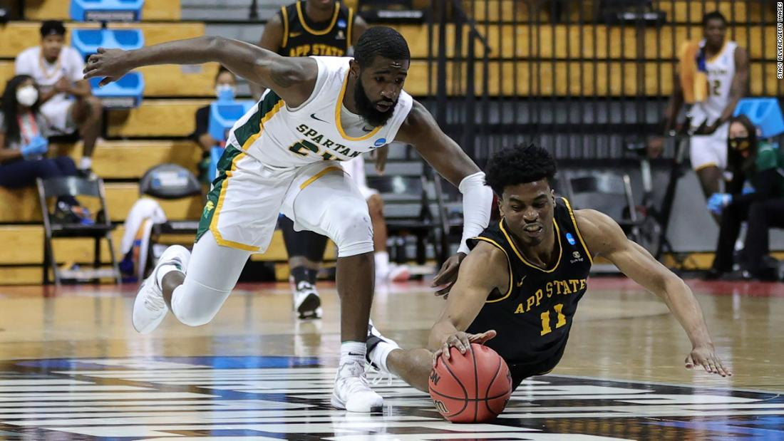 Appalachian State's Donovan Gregory dives for a loose ball.