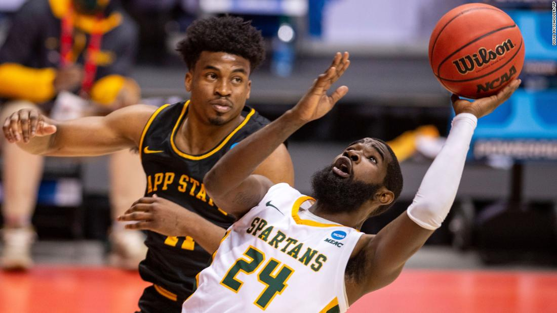 Norfolk State guard Jalen Hawkins gets off a shot against Appalachian State.