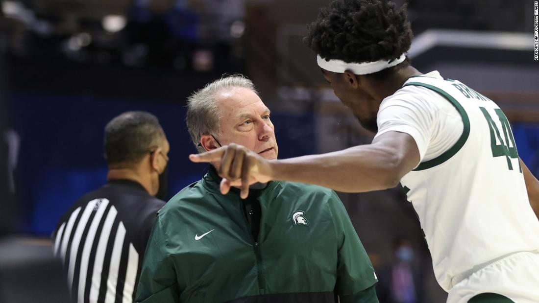 Michigan State head coach Tom Izzo has a heated conversation with Gabe Brown during their game against UCLA on March 18. UCLA won 86-80 in overtime.