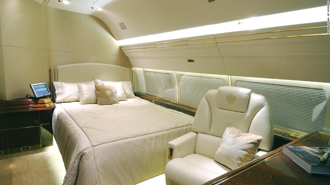 A bedroom in the plane.