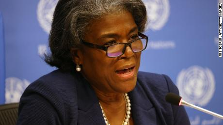 Linda Thomas-Greenfield, the new US Ambassador to the United Nations (UN), speaks to the media at a socially distanced briefing on March 01, 2021 in New York City.