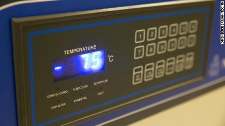 The vaccine freezer at Naval Medical Center Portsmouth keeps the Pfizer vaccine at -75 degrees.