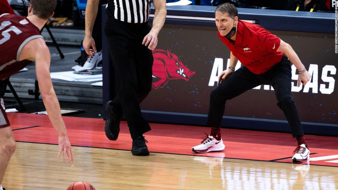 Arkansas head coach Eric Musselman barks out defensive instructions on March 19.