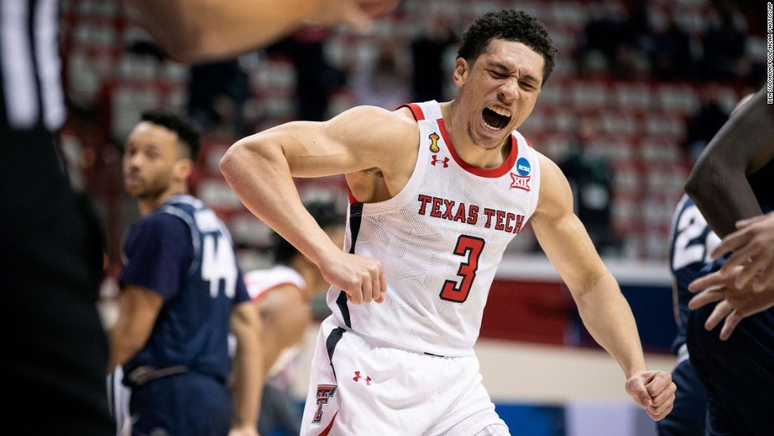 Texas Tech's Clarence Nadolny reacts during his team's first-round win against Utah State. Texas Tech was the tournament runner-up in 2019.