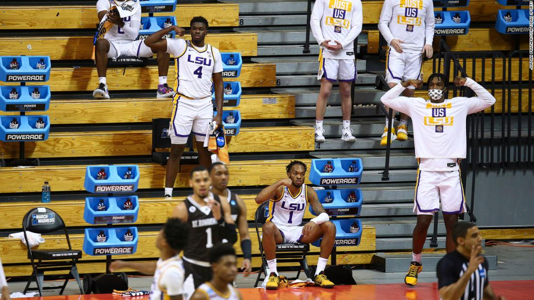 LSU players cheer on their teammates during their first-round win against St. Bonaventure.