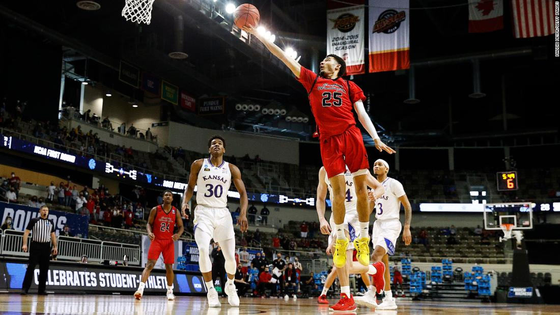 Eastern Washington's Michael Meadows drives to the basket during the first half against Kansas on March 20.
