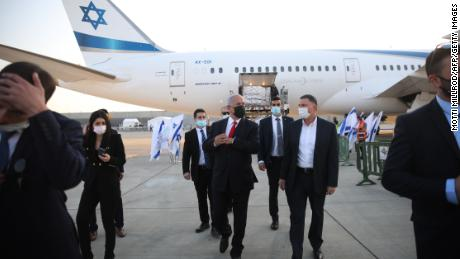 Netanyahu and Health Minister Yuli Edelstein welcome the arrival of a plane carrying a shipment of Pfizer-BioNTech coronavirus vaccine in January.