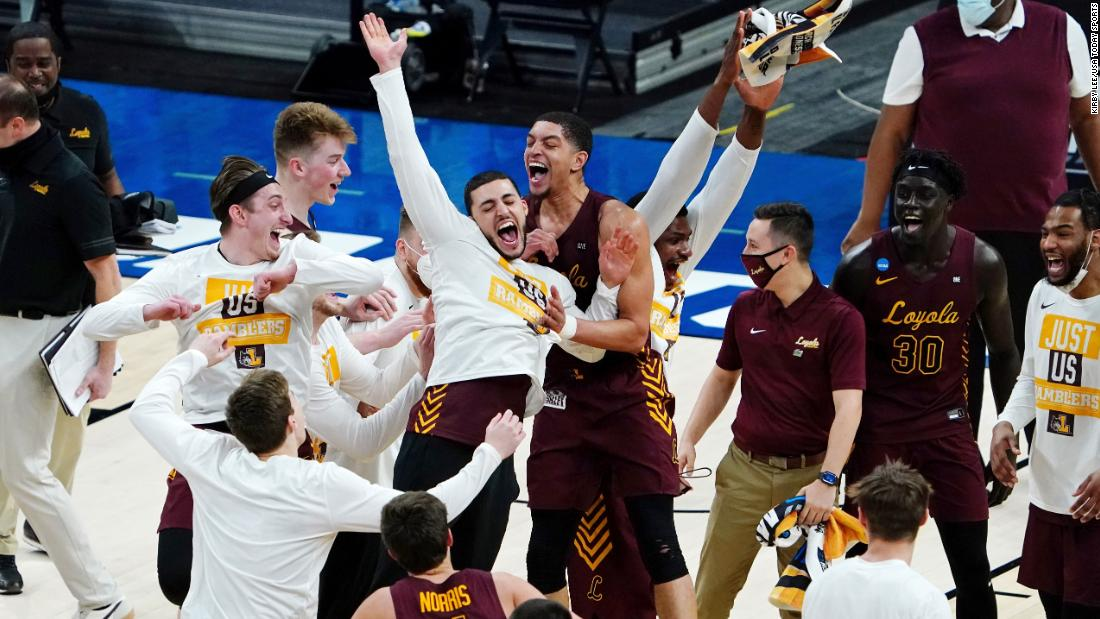 The Loyola Ramblers celebrate a berth in the Sweet Sixteen. Loyola, an 8-seed in the Midwest Region, had just defeated Illinois, the region's No. 1 seed.