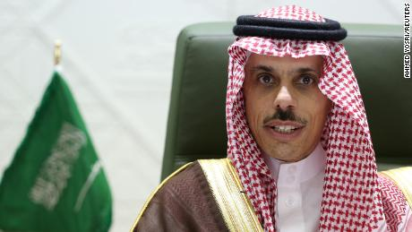 Saudi Foreign Minister Prince Faisal bin Farhan Al Saud speaks at a news conference in Riyadh on Monday.
