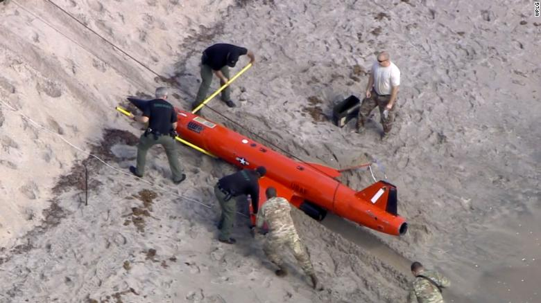 An Air Force training drone washed ashore on a Florida beach
