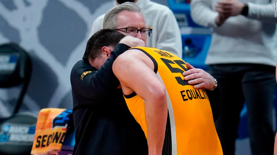 Iowa head coach Fran McCaffery hugs Luka Garza at the end of their loss to Oregon on March 22.