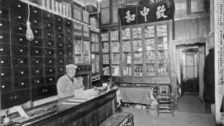 A Chinese apothecary in San Francisco's Chinatown is shown in the mid-1880s.