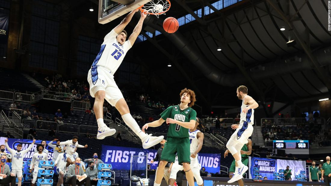 Creighton's Christian Bishop dunks the ball during a second-round win over Ohio on March 22.