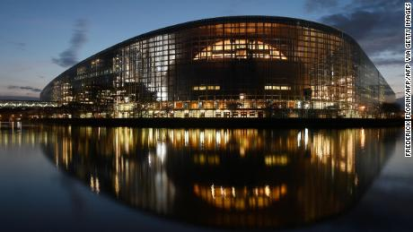 A picture taken on March 26, 2019 shows the building of the European Parliament in Strasbourg, eastern France.