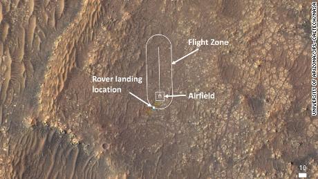 Esta imagem mostra onde a equipe do helicóptero fará seus voos de teste.