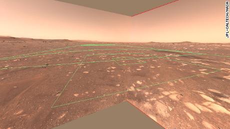 Esta imagem mostra uma área de voo de helicóptero criativa da perspectiva do rover.
