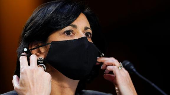 WASHINGTON, DC - MARCH 18: Dr. Rochelle Walensky, director of the adjusts her face mask during a Senate Health, Education, Labor and Pensions Committee hearing on the federal coronavirus response on Capitol Hill on March 18, 2021 in Washington, DC. (Photo by Susan Walsh-Pool/Getty Images)