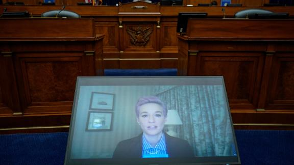 Megan Rapinoe of the US Women's National Soccer Team testifies Wednesday virtually during a House Oversight Committee.