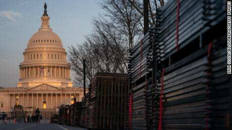 Stacks of disassembled security fencing outside the U.S. Capitol in Washington, D.C.. U.S., on Tuesday, March 23, 2021.