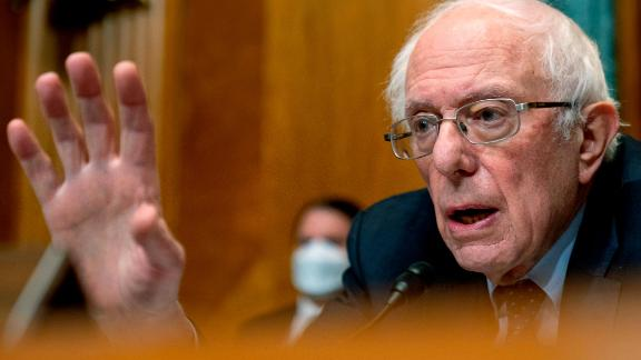 WASHINGTON, DC - FEBRUARY 10:  Chairman Sen. Bernie Sanders, (I-VT) speaks as Neera Tanden, President Joe Bidens nominee for Director of the Office of Management and Budget (OMB), appears before a Senate Committee on the Budget hearing on Capitol Hill on February 10, 2021 in Washington, DC. Tanden helped found the Center for American Progress, a policy research and advocacy organization and has held senior advisory positions in Democratic politics since the Clinton administration. (Photo by Andrew Harnik-Pool/Getty Images)