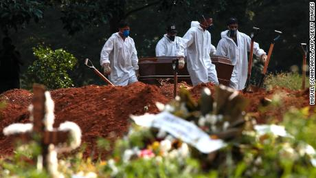 Cemetery workers carry the coffin of a people who died of Covid-19 at the Vila Formosa cemetery in Sao Paulo, Brazil, on March 23, 2021.