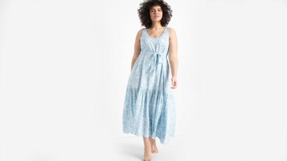 Eloquii V-Neck Tank Maxi Day Dress With Flounce