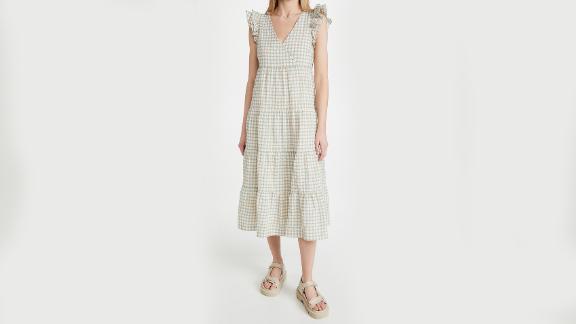 Madewell Plaid Ruffled Tiered Midi Dress