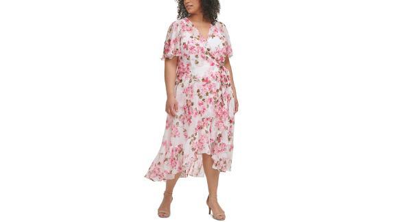Calvin Klein Plus Size Floral-Print Asymmetrical Surplice Dress