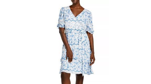 Aqua Curve Printed Tiered Hem Dress
