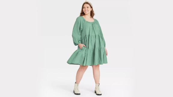 Universal Thread Puff Long Sleeve Tiered Dress