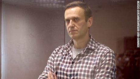 Alexei Navalny during an offsite hearing of the Moscow City Court on February 20.