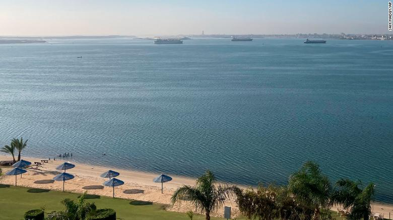 Ships anchored in Lake Timsah, Ismailia, halfway through the Suez canal on Thursday.