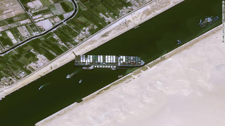 This satellite image, taken on March 25, shows the Suez Canal blocked by the ship Ever Given after it ran aground.
