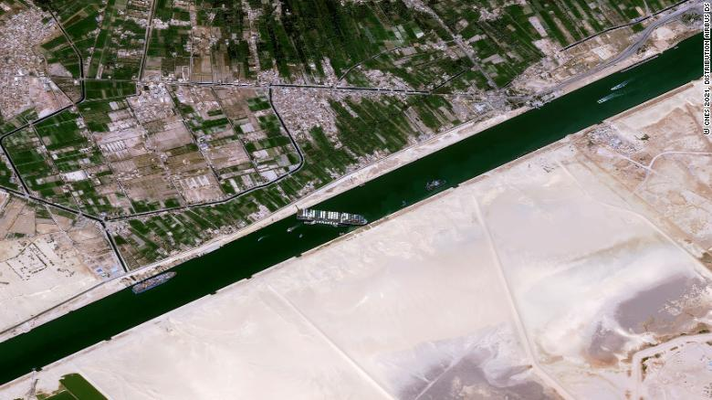 The ship ran aground on March 23 after being caught in 40-knot winds and a sandstorm that caused low visibility and poor navigation, said the Suez Canal Authority.