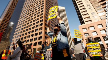 Union workers rallied in downtown Los Angeles on Monday, March 22, 2021 in support of unionizing Alabama Amazon workers.