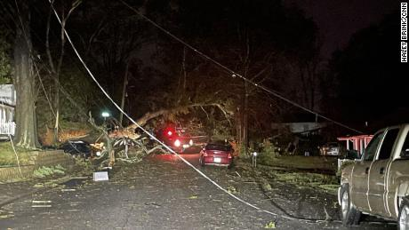 Damage caused by the tornado in Newnan, Georgia.