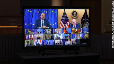 President Joe Biden attends the virtual EU Leaders' Summit in Brussels, Belgium on March 25, 2021.