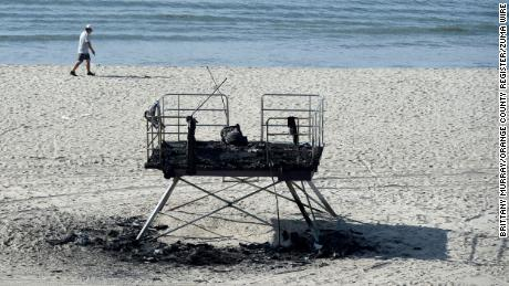 LGBTQ Pride lifeguard tower burns down in fire that officials believe was an act of hate