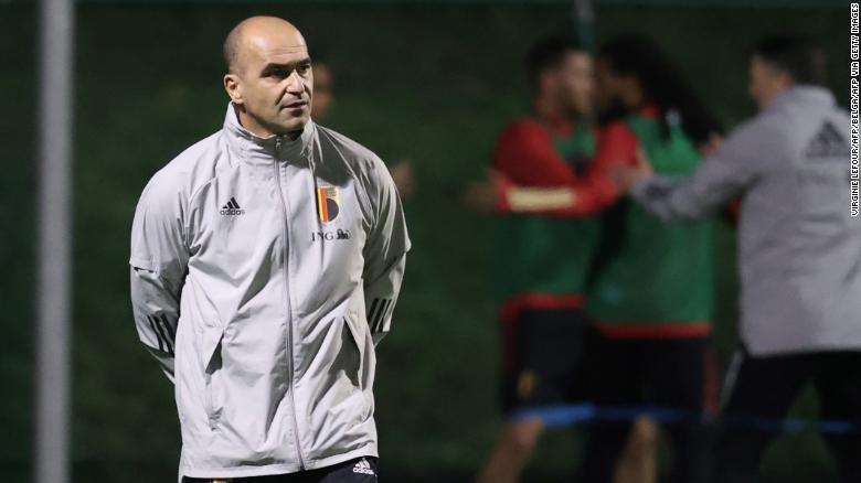 Martinez memimpin sesi latihan Belgia November lalu.