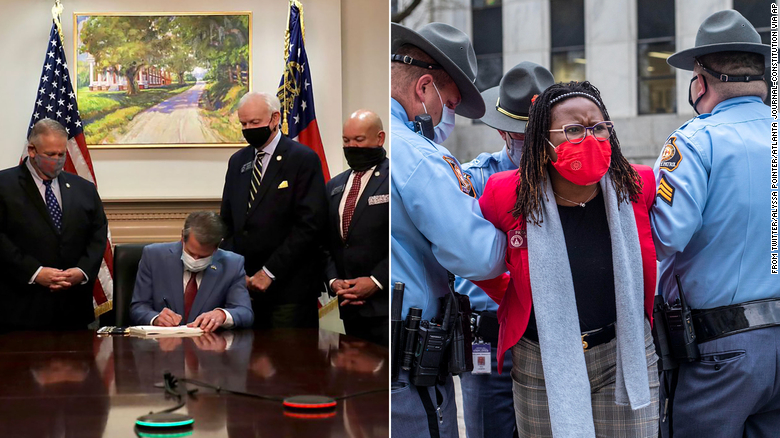 These two photos show who Georgia's new elections law benefits — and hurts