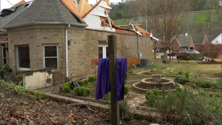 Alabama tornado spared a scarf-draped cross as it devastated a Birmingham neighborhood