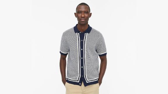 J.Crew Cotton Bird's-Eye Short-Sleeve Polo Sweater