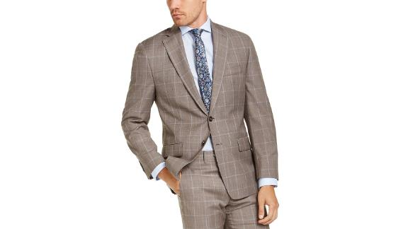 Michael Kors Classic Fit Airsoft Stretch Brown Windowpane Suit Jacket