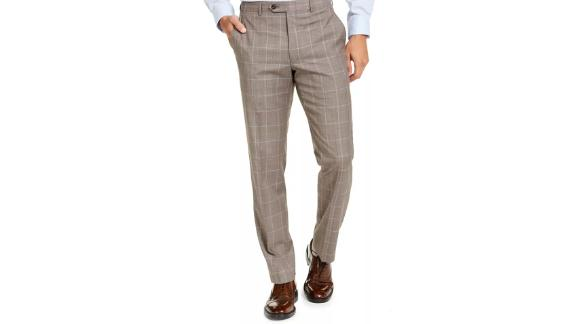 Michael Kors Classic Fit Airsoft Stretch Brown Windowpane Suit Pants