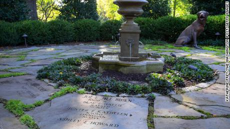 When she was second lady, Jill Biden helped create the Family Heritage Garden of the Vice President, where all occupants and their family members -- including pets -- are memorialized on the stone pavers around a fountain as seen here 2016.