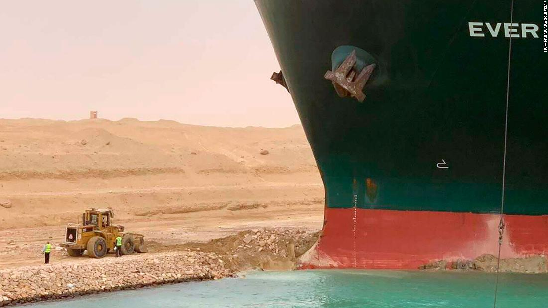 Attached shipping vessel in the Suez Canal