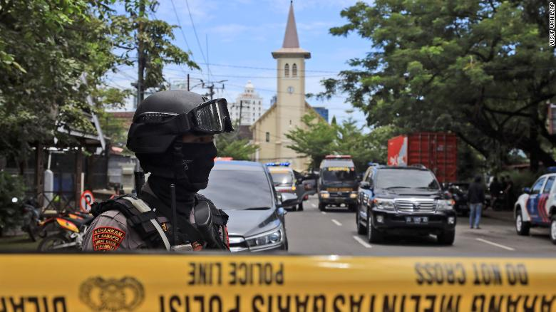 14 people injured in suspected suicide bombing outside Catholic church in Indonesia