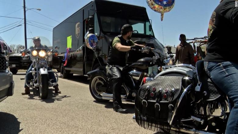 UPS drivers threw a birthday parade for their co-worker recovering from Covid-19