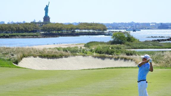 JERSEY CITY, NEW JERSEY - AUGUST 10:  Collin Morikawa of the United States plays a shot on the 18th hole during the third round of The Northern Trust at Liberty National Golf Club on August 10, 2019 in Jersey City, New Jersey. (Photo by Cliff Hawkins/Getty Images)