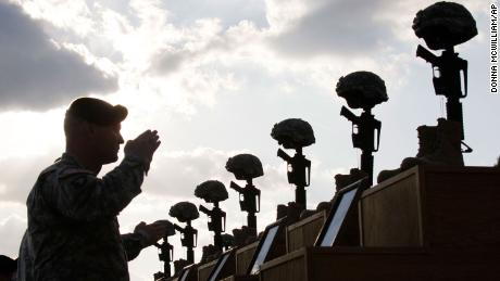 In this November 10, 2009 file photo, soldiers salute as they honor victims of the Fort Hood shooting at a memorial service at Fort Hood, Texas.